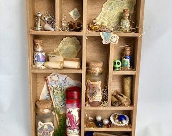 Miniature Shadowbox, magic assemblage, dragon hoard, mini shelves, magic diorama