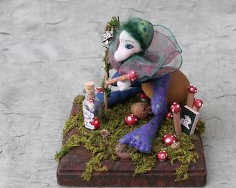 desktop sculpture, mushroom, toadstool brownie, woodland spirit, art doll, miniature cloth doll