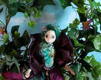 ooak art doll, original cloth doll, mixed media sculpture, Titania