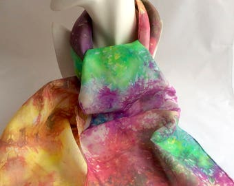 One of a kind silk scarf, ice dyed silk scarf, hand dyed silk, rainbow palette