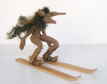 OOaK Cloth Art Doll, the Skier
