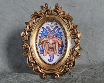 medieval style miniature grotesque framed painting Higwort