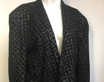 1c772478993ec6 Vintage 1980 s Tuxedo Pancaldi Leather Spotted Ladies Cocktail party  cropped jacket black fashion forward band Size XL UK 16 Medium US 12