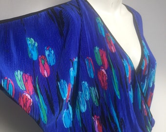b751fa034bf308 1980 s fabulous pleated rainbow floral colour pop batwing blouse top true  vintage Party festival super bright Size UK 10-12 Medium