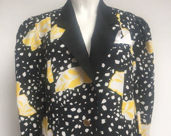 7991224b8228f3 Vintage Jean Claire 1980 s bold graphic print Ladies long sleeve shirt  blouse fabric fitted formal jacket yellow black Size UK 12 Medium