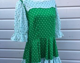 1970's Irish dancing four leaf clover lucky St Patricks Day ra-ra green white full skirt true vintage Showstopper party dress UK Size 16 XL