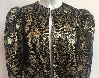 df39ba3f68d5bc Vintage 1980 s dramatic Cocktail party Opera formal jacket metallic gold    black cropped Dorothy Perkins floral print Size UK 12 Medium US 8