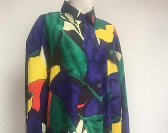 06753588d0ce21 Vintage Yarell 1980 s bold graphic print Ladies long sleeve shirt blouse  fabric loose cut purple yellow red black white Size UK 10 Medium