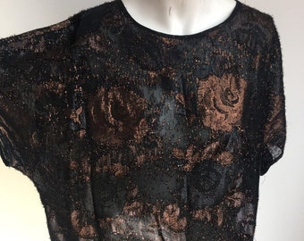 fee3bd2ac0748e Vintage 1990 s Semi Sheer black   copper Ladies Cocktail party shimmering blouse  top Sixth Sense Wedding guest party Size UK 16 Large US 12