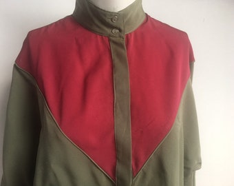 d46bc2e34c193b Vintage 1980s batwing 2 tone colour block blouse top in olive   plum army  green New Wave Gary Numan formal shirt Size UK 12 US 6 Medium