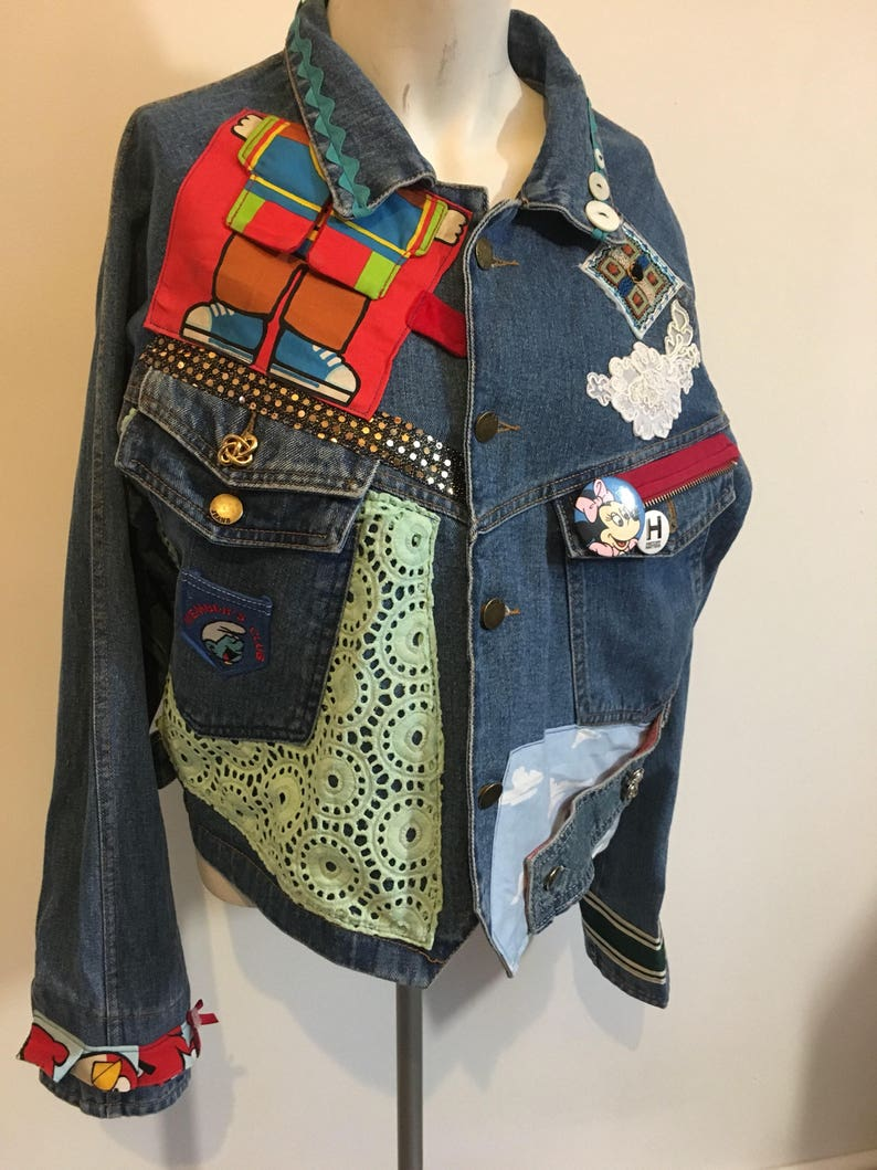 170041d0b5b Smurf MInnie Mouse Dr Seuss Denim Jacket lovingly customised with vintage  fabrics,patches,pin badges,haberdashery,buttons UK Size 10-12