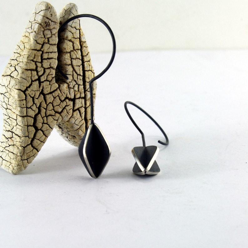 structural blackened silver minimalist earrings,kite earrings unique hook earrings Geometric Sterling Silver Earrings drop earrings