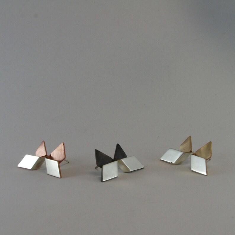sterling silver earrings modern earrings,geometric earrings,unique Rectangle stud earrings,mixed metal earrings silvercopperblackbrass