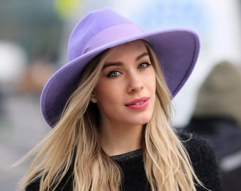 37dd9c584ca Wide Brimmed Fedora Hat Women s Hat Spring Fashion Spring Accessories  Winter Accessories Lilac Hat Wide Brim Boho Hat Felt Fedora Hat