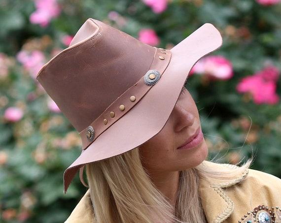 Leather Hat Men's Hat Women's Hat Cowgirl Western Hat Travel Hat Patriotic Hat Western Style 1970s Hat Hippie Style