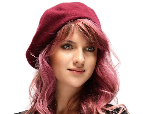 Beret Hat French Beret Wool Beret 1940s Fashion Hat Beret With Antenna Warm Hat Pink Yellow White Red Brown Gray Black Camel Purple Royal