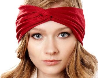 Wide Headband Red Headband 1980s Headband Women's Turban Headband Hairloss Soft Headband Red Hair Accessory Yoga Headband Red Ear Warmer