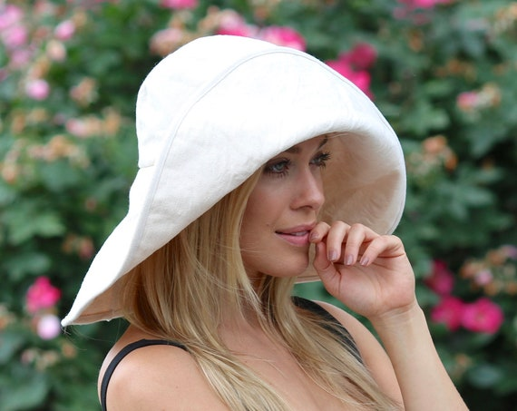 Extra Wide Brimmed Floppy Hat Women's Sunhat Washable Crushable Packable Travel Hat Cotton Hat White Canvas Hat Boho Beach Hat Summer Hat