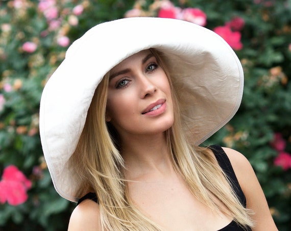 Sun Hat Wide Brimmed Floppy Hat Women's Beach Hat Frayed Hat Distressed Washable Crushable Packable Travel Hat