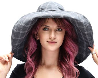 Wide Brimmed Floppy Hat Women's Sun Hat Urban Sun Hat Gray Plaid Hat Beach Hat Crushable Packable Travel Hat