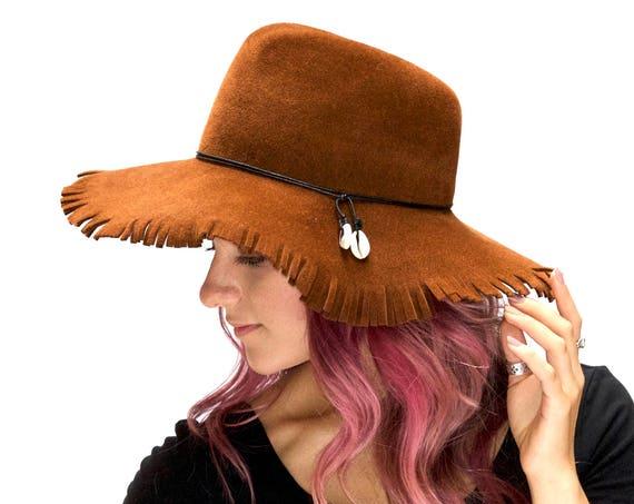 Floppy Felt Hat Fedora Hat Women's Hat Hippie Accessory Fall Accessories Wide Brim Hat Festival Wear Western Style Fringe Hat