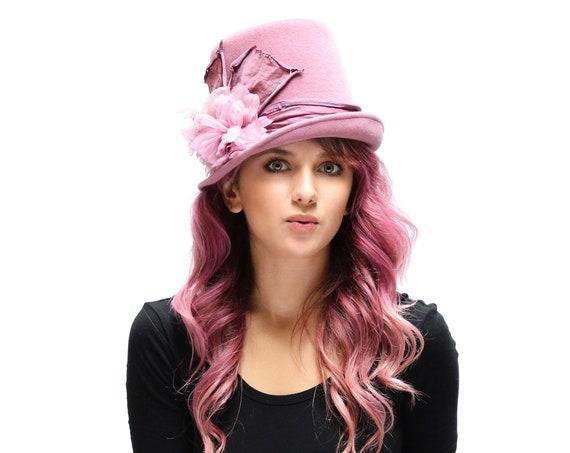 Top Hat Dusty Pink Top Hat Victorian Riding Hat Women's Top Hat Gypsy Top Hat Kentucky Derby Hat Felt Top Hat Steampunk Hat Hippie Top Hat