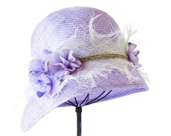 Straw Cloche Hat Periwinkle Women's Cloche Hat Flapper Hat Kentucky Derby Straw Hat Garden Party Hat Tea Party Hat Dressy Hat Wedding Hat