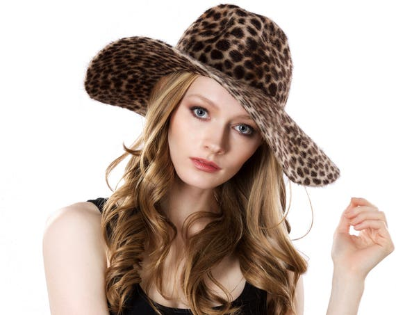 Wide Brimmed Hat Women's Floppy Spring Hat Animal Print Festival Fashion Fedora Hat Packable Foldable Soft Hat Faux Fur Felt Cheetah Giraffe