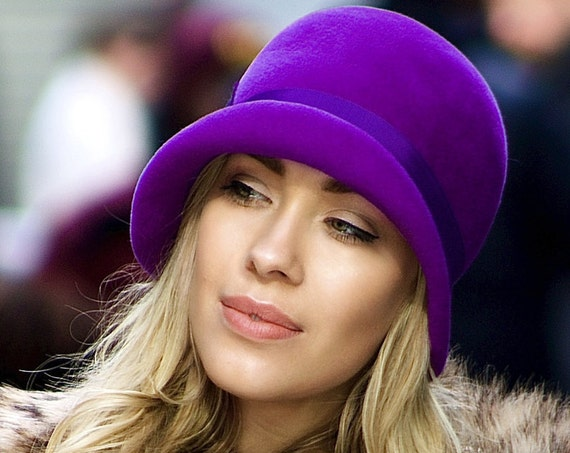 Ultra Violet Purple Cloche Hat For Women 1920s Flapper Fall Fashion Fall Accessory Gift For Her Felt Cloche Women's Hat Custom Hat