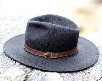 e0d79a1a77a Panama Straw Hat Black Wide Brimmed Fedora Hat Sun Hat Spring Accessories  Panama Hat Handwoven Natural Fiber Hat Summer Hat For Men