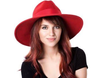 72470f3d Wide Brimmed Hat Red Fedora Hat Fall Fashion Fall Accessories Wide Brimmed  Fedora Fall Hat Women's Hat Custom Hat Kentucky Derby Hat