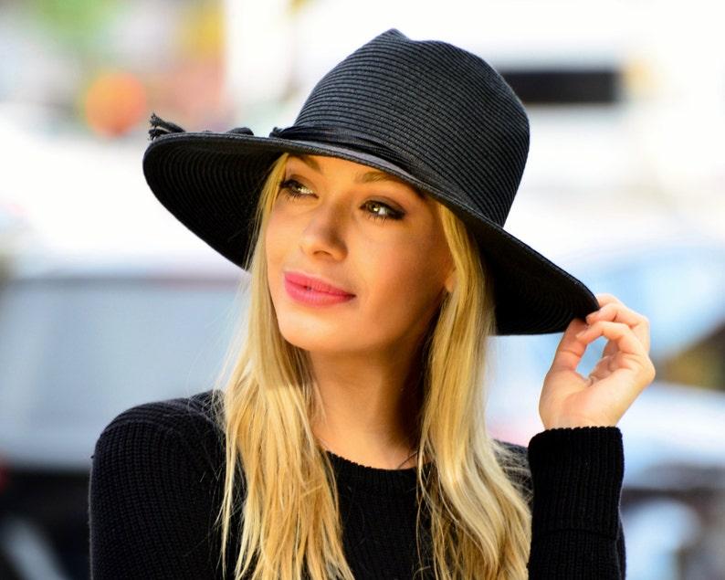 c17a9b2a89468 SPF Sun Hat Women s Straw Hat Wide Brim Fedora Black Hat