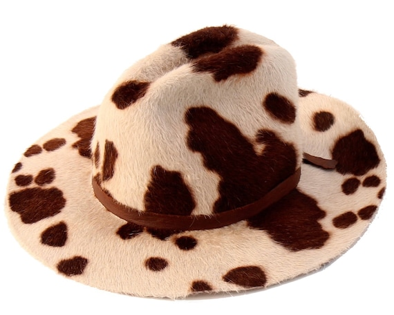 Cowboy Hat Floppy Cow Print Hat Women's Hat Men's Hat Fall Fashion Animal Print Hat Country Western Boho Hat Rancher's Hat Fall Accessories