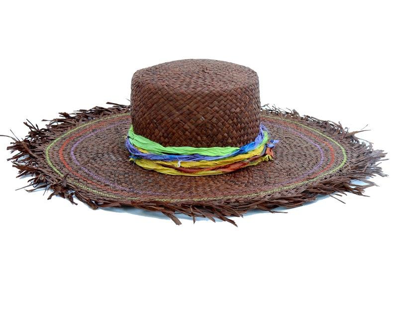 812a190e Gaucho Sunhat Brown Straw-hat Handmade Hat Frayed Brim Hat   Etsy