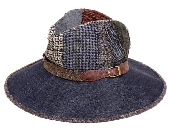 Patchwork Fedora Hat Fall Fashion Winter Hat Packable Hat Women's Hat Wool Tweed Fedora Hat Tartan Plaid Denim Hat Fall Accessories Gift Hat
