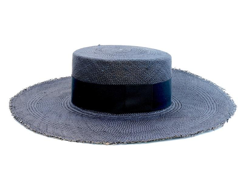 Black Hat Wide Brim Boater Hat Women s Hat Boho Hat Flat  8173714506af