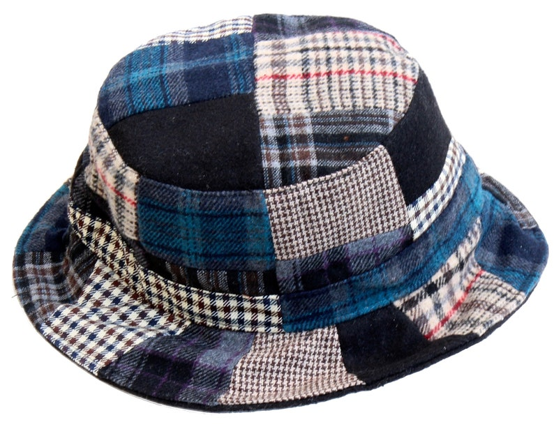 2d9e605741a2f Plaid Bucket Hat Patchwork Hat Wool Tweed Men s Hat