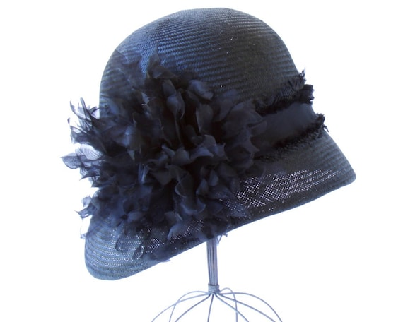 Black Straw Cloche Hat Women's Hats Spring Fashion Fall Accessories Great Gatsby 1920's Flapper Hat Black Straw Hat Fall Fashion Formal Hat