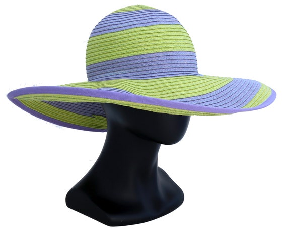Wide Brim Sunhat Beach Hat Sun Shade Summer Fashion Striped Hat Floppy Sun Hat Packable Crushable Straw Hat Stripes Beach Accessories