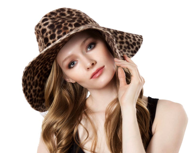 2a254a05e8717 Wide Brimmed Hat Women s Floppy Hat Animal Print Festival