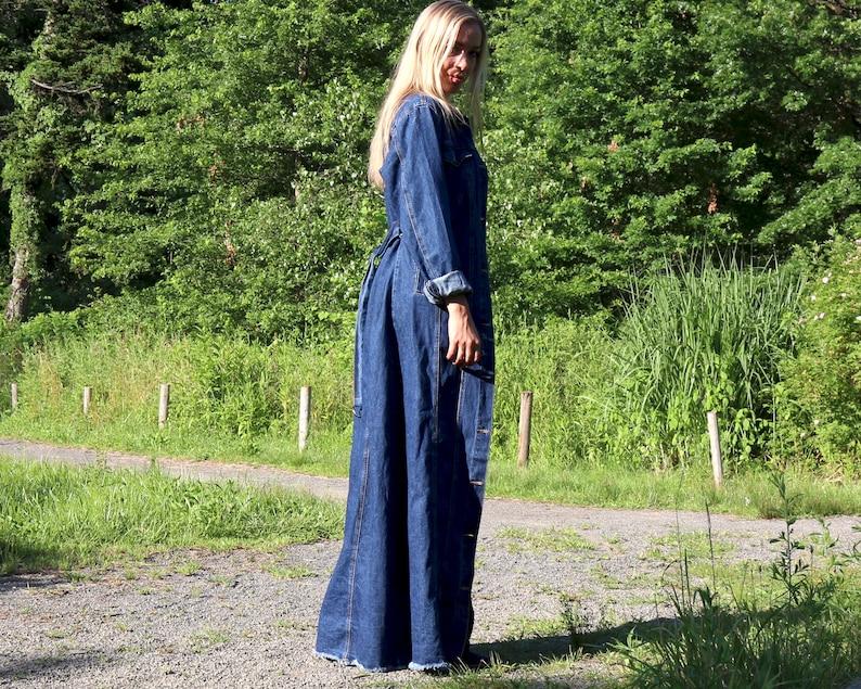 1970s Denim Coat Denim Fashion Fall Denim Jean Coat Large Denim Duster Extra Long Coat Handmade Denim Maxi Coat Frayed Dark Denim