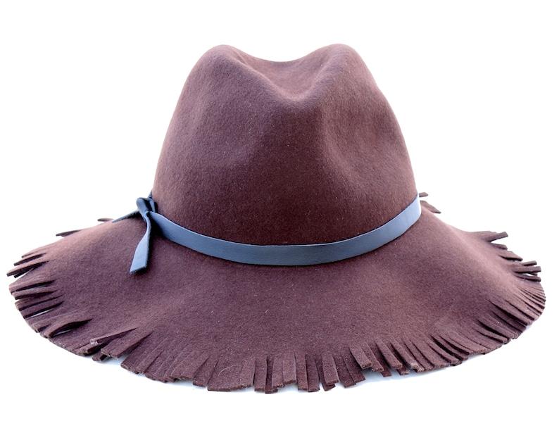 28d9f7022d7 Wide Brimmed Fedora Hat Fringe Women s Hat Hippie Boho