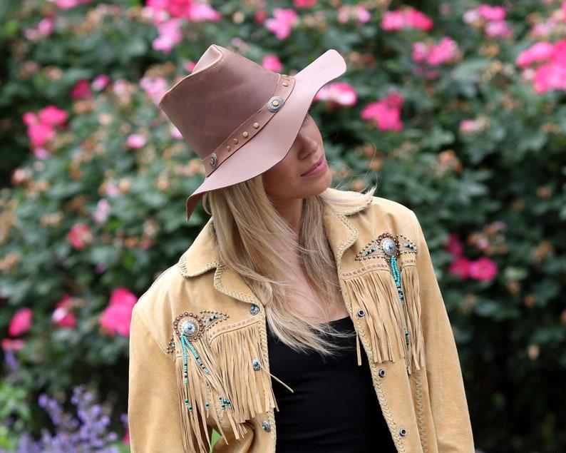 Leather Hat Men/'s Hat Women/'s Hat Cowgirl Western Hat Travel Hat Patriotic Hat Western Style 1970s Hat Hippie Style