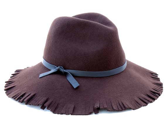 Wide Brimmed Fedora Hat Fringe Women's Hat Hippie Boho Accessories Wool Felt Hat Floppy Brim Boho Fashion Bohemian Style Hippie Fashion
