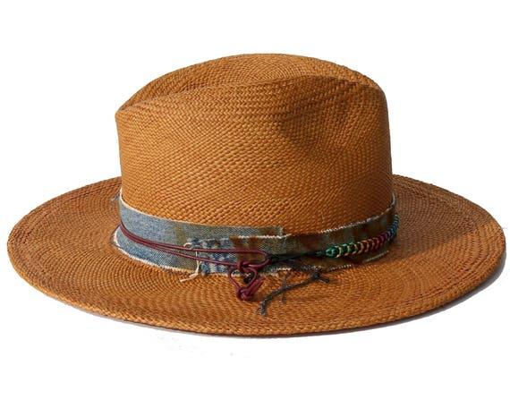 Straw Fedora Hat Handmade Hat Handwoven Straw Hat Wide Brimmed Sun Hat Beach Accessories Women's Hat Men's Hat Summer Hat Brown Straw Hat