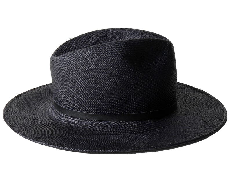 21747c1eeba Black Panama Straw Fedora Hat Women s Hat Men s Hat