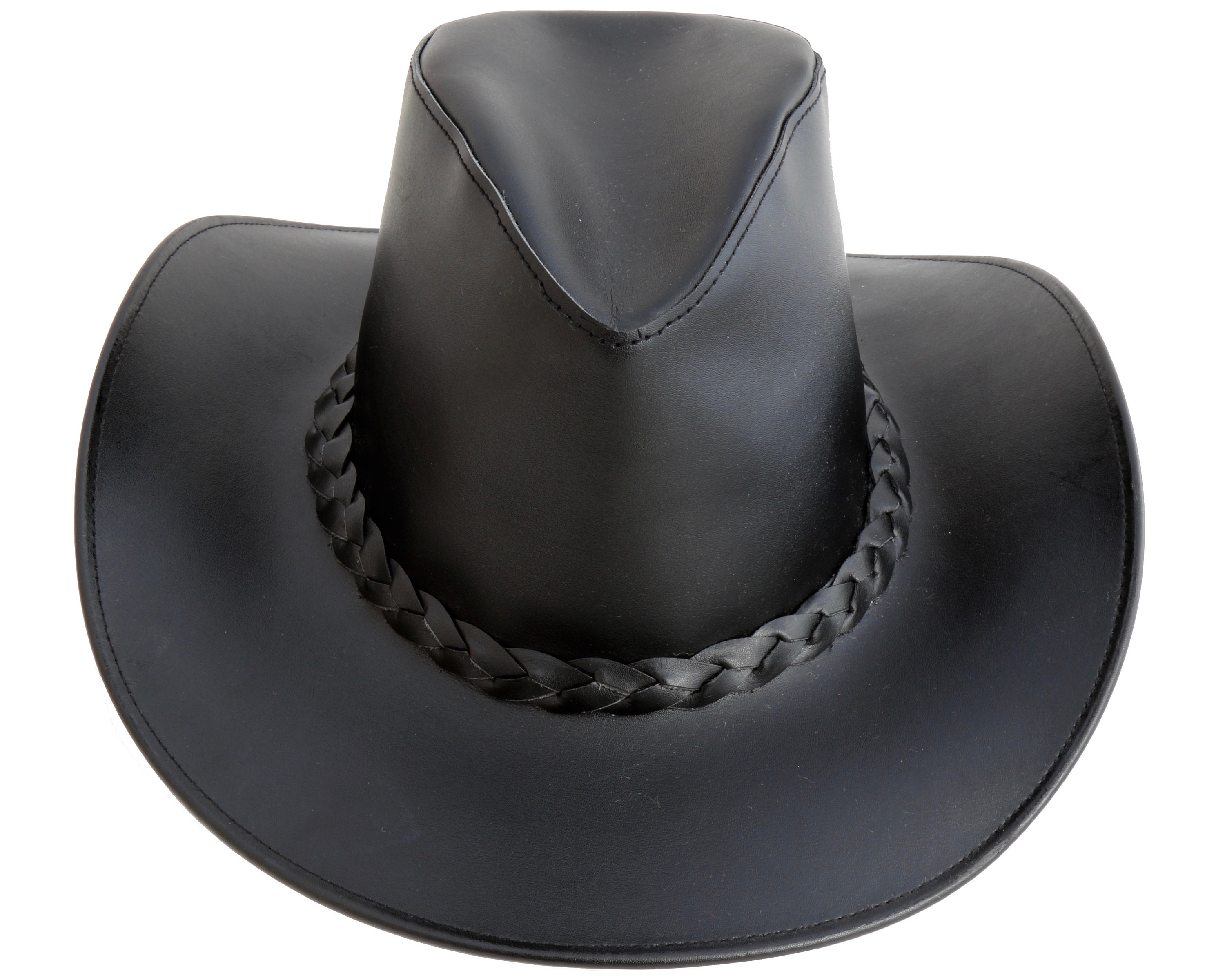 Women s Black Leather Cowboy Hat Country Western Style  bc9fb5528d0