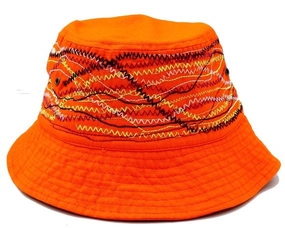 Orange Bucket Hat Embroidered Bucket Hat Sun Hat Unisex Hat 90s Fashion Sailor's Summer Hat Cotton Hat Black Bucket Hat 90s Bucket