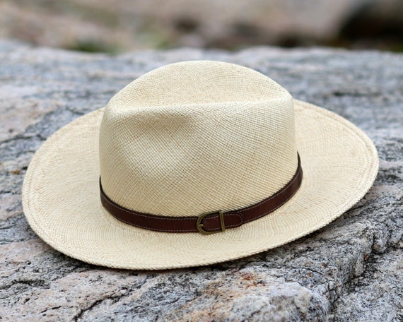 EPGU Men//Womens Outdoor Casual Structured Straw Fedora Hat w//PU Leather Strap
