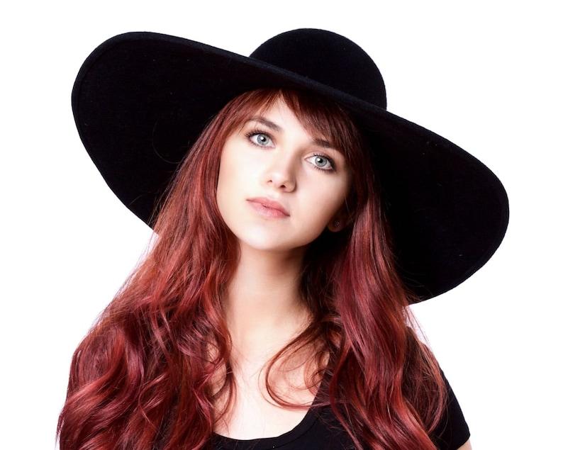 9485b3d2ab458f Wide Brimmed Hat Black Hat Floppy Hat Picture Hat 7 Inch Brim | Etsy